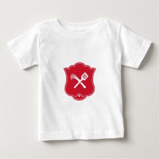 Spatula Flogger Whip Crossed Shield Retro Baby T-Shirt