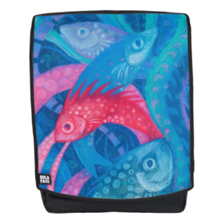 Spawning, fishes, underwater art, blue, pink, mint