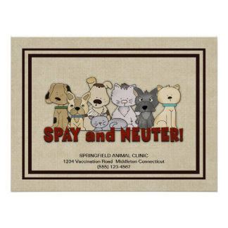 Spay and Neuter Your Pets Advertising Custom Poster