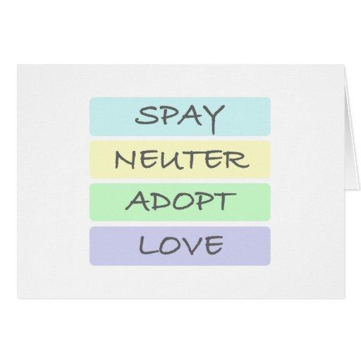 Spay Neuter Adopt Love Greeting Cards
