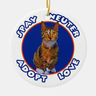 Spay Neuter Adopt Love Ceramic Ornament