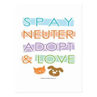 Spay Neuter Adopt Love Post Cards