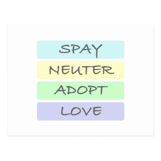 Spay Neuter Adopt Love Postcard