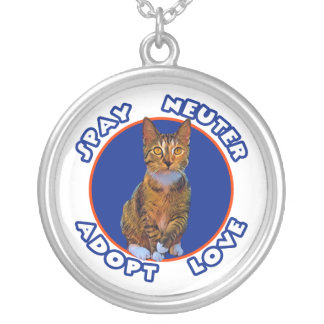 Spay Neuter Adopt Love Silver Plated Necklace