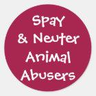 Spay& Neuter Animal Abusers Classic Round Sticker