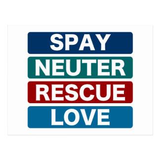 Spay Neuter Rescue Love 2 Postcards