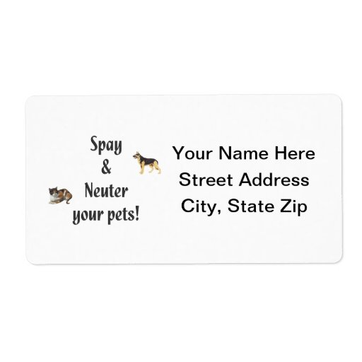 Spay & Neuter your pets (pics) Custom Shipping Labels