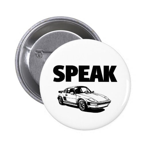 Speak car pinback buttons
