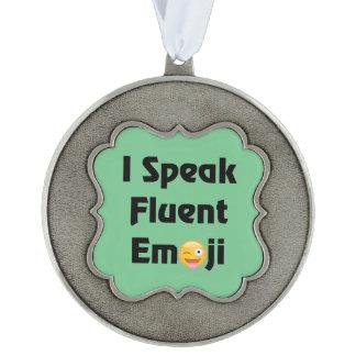 Speak Fluent Emoji Scalloped Pewter Ornament