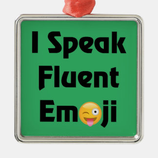 Speak Fluent Emoji Silver-Colored Square Ornament