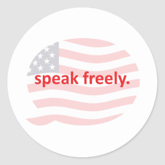 speak freely classic round sticker