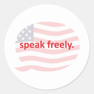 speak freely round sticker
