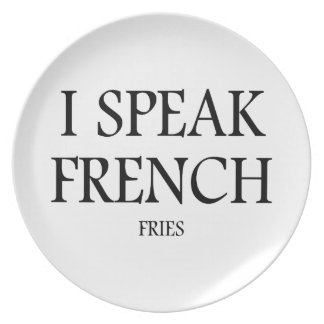 Speak French Fries Party Plate