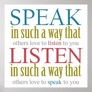 Speak & Listen Rules Colorful Text Design Poster