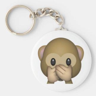 Speak No Evil Monkey - Emoji Basic Round Button Keychain
