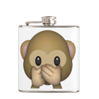 Speak No Evil Monkey - Emoji Hip Flask