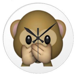 Speak No Evil Monkey - Emoji Large Clock