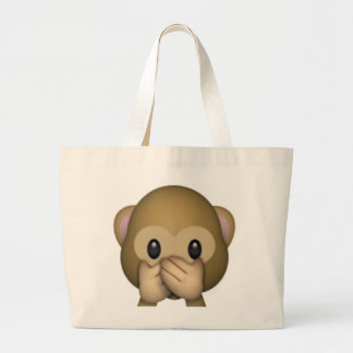 Speak No Evil Monkey - Emoji Large Tote Bag