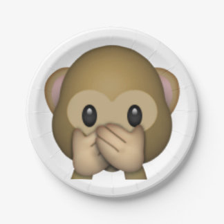 Speak No Evil Monkey - Emoji Paper Plate