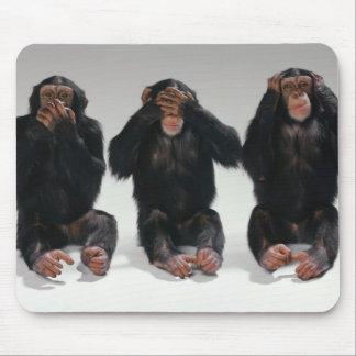 Speak No See No Hear No Evil Monkeys Mousepad