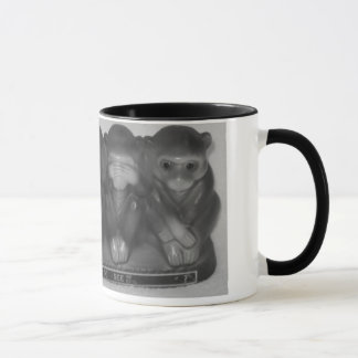 Speak See Hear Do NO evil Money statue Mug