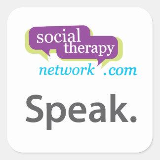 Speak. Social Therapy Network. Square Sticker