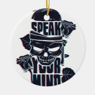 speak your mind skull ceramic ornament