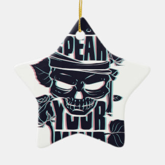 speak your mind skull ceramic star ornament