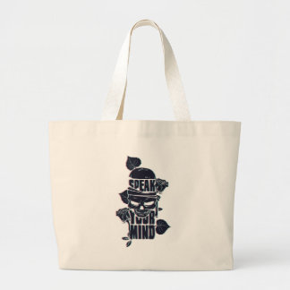 speak your mind skull large tote bag