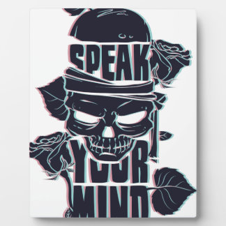speak your mind skull plaque