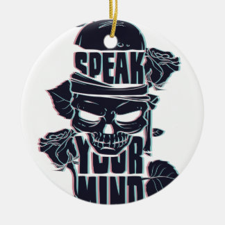 speak your mind skull round ceramic ornament