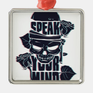 speak your mind skull Silver-Colored square ornament