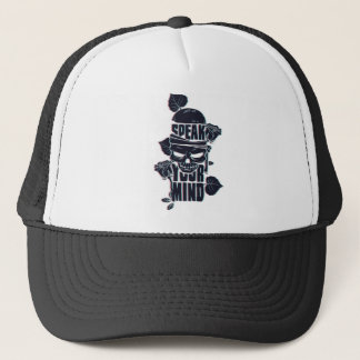 speak your mind skull trucker hat