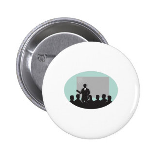 Speaker Audience Projector Screen Oval Woodcut 2 Inch Round Button