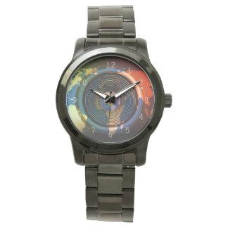 Speaker on a world map background wrist watch