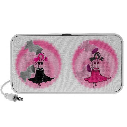 speakers dancer pink fans