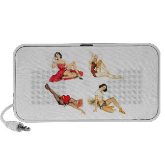 Speakers Pin-up Girls Collage Vintage Retro 5 iPhone Speaker