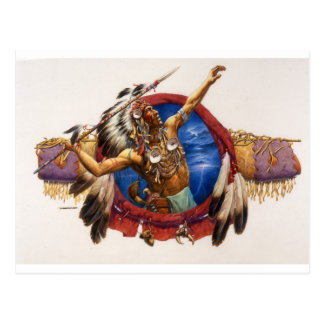 Spear Warrior Native American Postcard