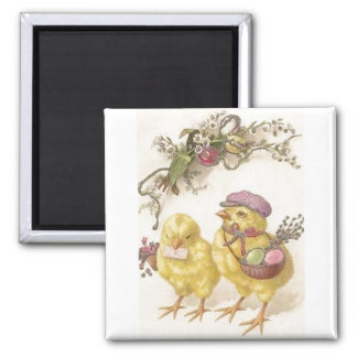 Special Delivery Easter Chicks Square Magnet