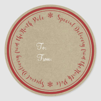 Special Delivery from North Pole Rustic Christmas Classic Round Sticker