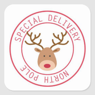 Special Delivery North Pole Reindeer Stickers