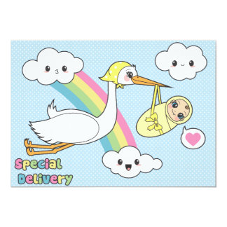 """Special Delivery - Stork & Baby 5"""" X 7"""" Invitation Card"""