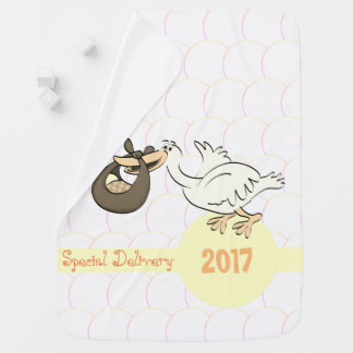 Special Delivery Stork Yellow Baby Blanket