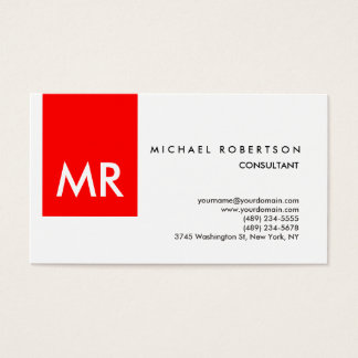 Special exclusive monogram red white business card