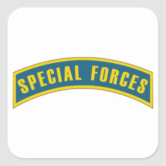Special Forces Tab Blue & Gold Square Sticker