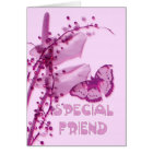 Special Friend Birthday card, pink with buttefly a Card