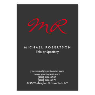 Special Monogram Grey Red Clean Large Business Card