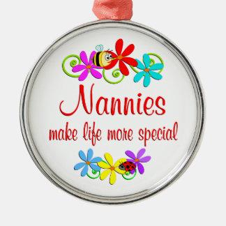 Special Nannie Silver-Colored Round Ornament