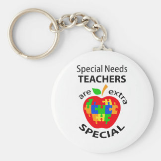 SPECIAL NEEDS TEACHER BASIC ROUND BUTTON KEYCHAIN