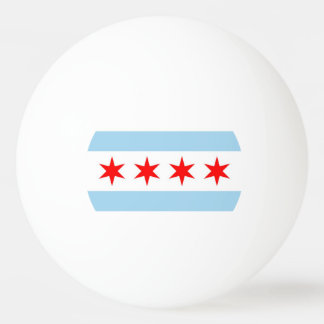 Special ping pong ball with Flag of Chicago City
